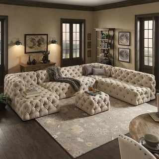 Knightsbridge II Beige Linen Tufted Chesterfield Modular U-Shape with Chaise Sectional by iNSPIRE Q Artisan