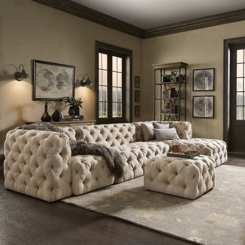 Knightsbridge II Beige Linen Tufted Chesterfield Modular L-Chaise Sectional by iNSPIRE Q Artisan