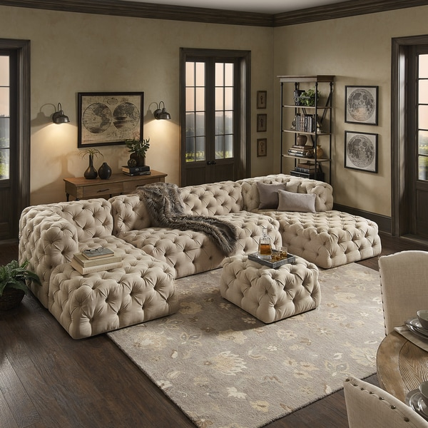 Knightsbridge II Beige Linen Tufted Chesterfield Modular U Chaise Sectional By INSPIRE Q Artisan