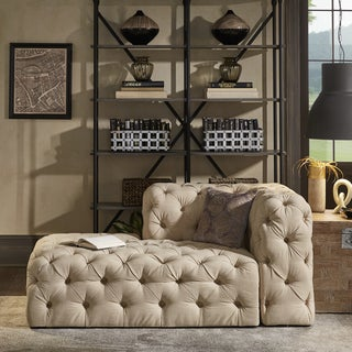Knightsbridge II Beige Linen Tufted Chesterfield Sectional Chaise Lounge by iNSPIRE Q Artisan