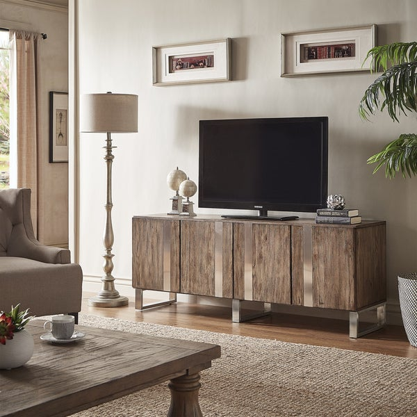Nadine Wood And Stainless Steel Tv Console Server By Inspire Q