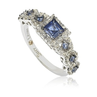Suzy L. Sterling Silver Assher Cut Sapphire and Diamond Accent Bridal Engagement Ring - Blue