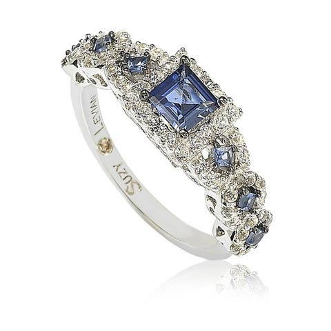 Suzy L. Sterling Silver Sapphire Engagement Ring