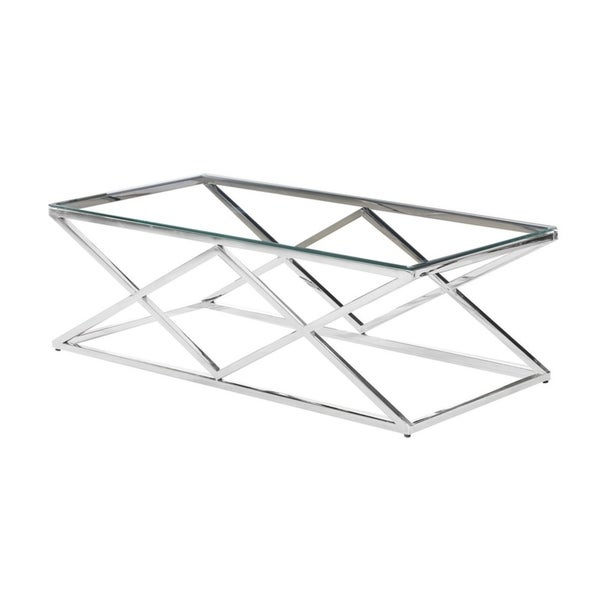Best Master Furniture Clear Glass and Silver Stainless Steel Rectangular Coffee Table