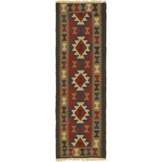Hand Woven Kilim Maymana Wool Runner Rug - 2' x 6' 2