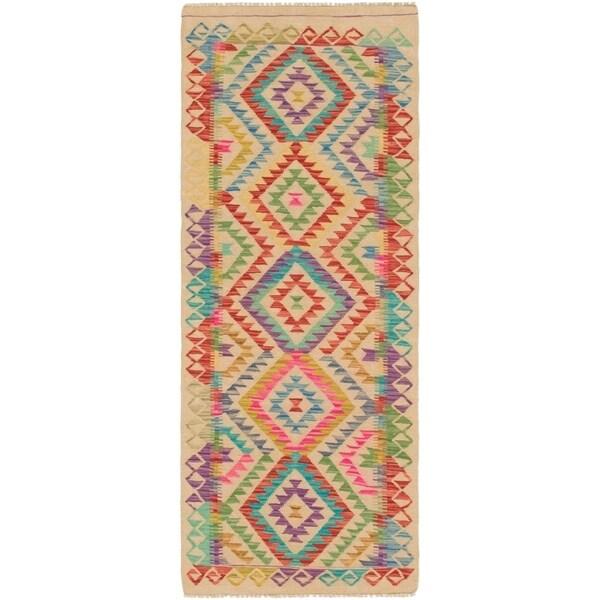 Shop Hand Woven Kilim Maymana Wool Runner Rug