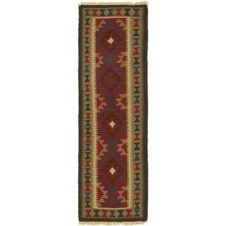 Hand Woven Kilim Maymana Wool Runner Rug - 2' 2 x 6' 7