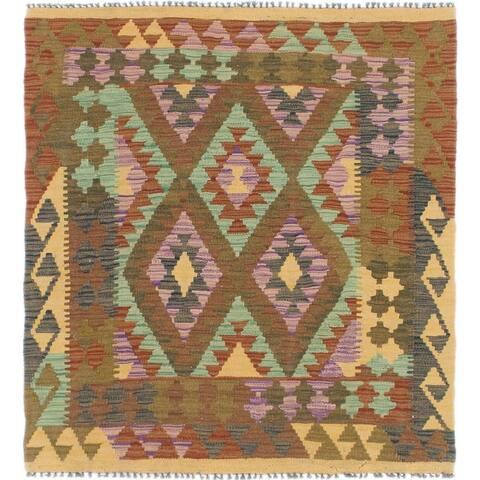 Hand Woven Kilim Maymana Wool Square Rug - 3' 6 x 3' 10