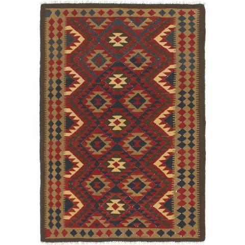 Hand Woven Kilim Maymana Wool Area Rug - 5' 6 x 8'