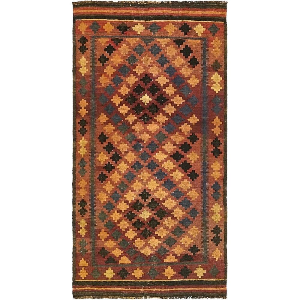 Hand Woven Kilim Maymana Wool Runner Rug - 3' x 6' (3' x 6' - Rust Red)