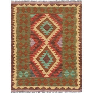 Hand Woven Kilim Maymana Wool Area Rug - 3' x 3' 10