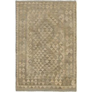 Hand Woven Kilim Maymana Wool Area Rug - 4' x 5' 10
