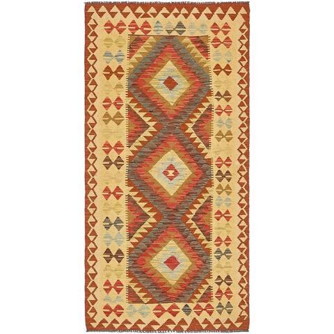 Hand Woven Kilim Maymana Wool Runner Rug - 3' 2 x 6' 7