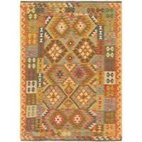 Hand Woven Kilim Maymana Wool Area Rug - 4' 9 x 6' 5