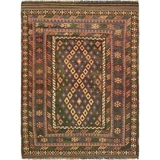 Hand Woven Kilim Maymana Wool Area Rug - 3' 10 x 5' 4