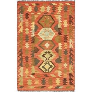 Hand Woven Kilim Maymana Wool Area Rug - 3' 3 x 5'