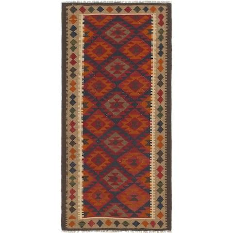 Hand Woven Kilim Maymana Wool Runner Rug - 3' 4 x 6' 10