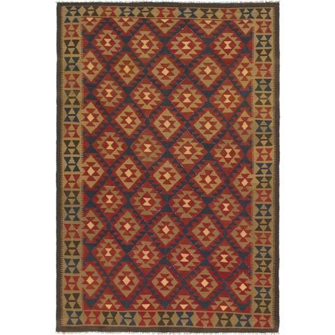 Hand Woven Kilim Maymana Wool Area Rug - 7' x 10' 2