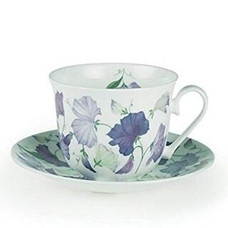 Roy Kirkham Breakfast Cups & Saucers - Sweet Pea (Lilac) (Set of 2)