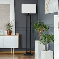 "D'Alessio 58"" Matte Black Floor Lamp with White Linen Shade"