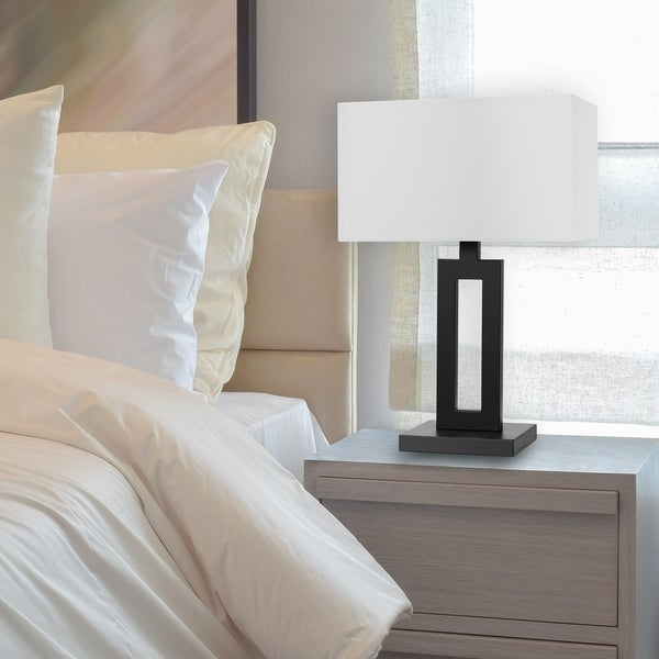 Copper Grove Khmelny 20-inch Matte Black Table Lamp with White Linen Shade. Opens flyout.