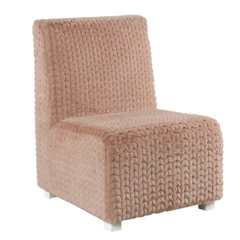HomePop Kids Cushioned Slipper Chair- Textured Pink Faux Fur
