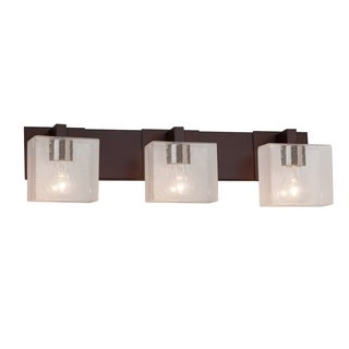 Justice Design Group Fusion Modular 3-light Dark Bronze Bath Bar, Seeded Rectangle Shade
