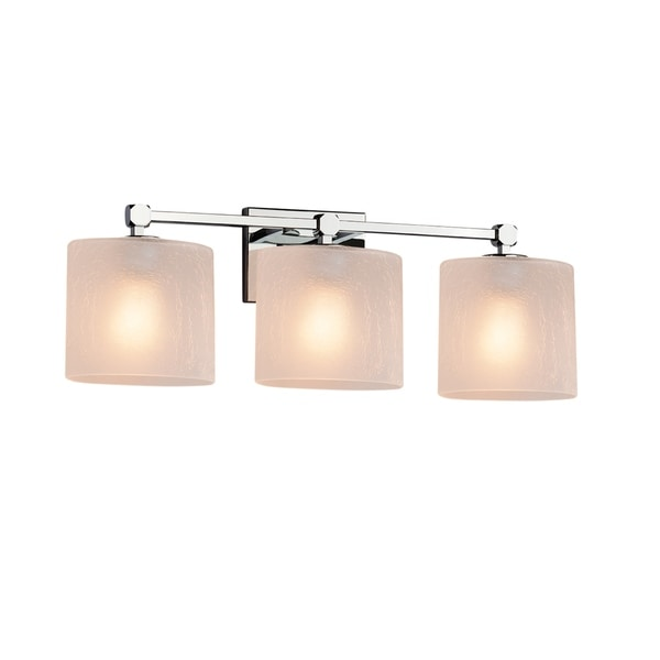 Justice Design Group Fusion Tetra 3 Light Polished Chrome Bath Bar Frosted Le Oval
