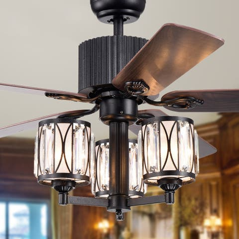 Aruke 5-blade 52-inch Forged Black Lighted Ceiling Fanwith 3-shade Chandelier (remote controlled)
