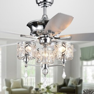 Miramis 5-Blade 52-Inch Chrome Lighted Ceiling Fan with Crystal Chalice Chandelier (Remote Controlled)