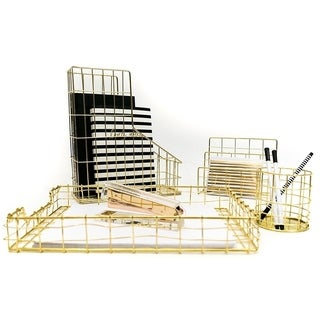 Blu Monaco 4 Piece Gold Wire Desk Organizer Set