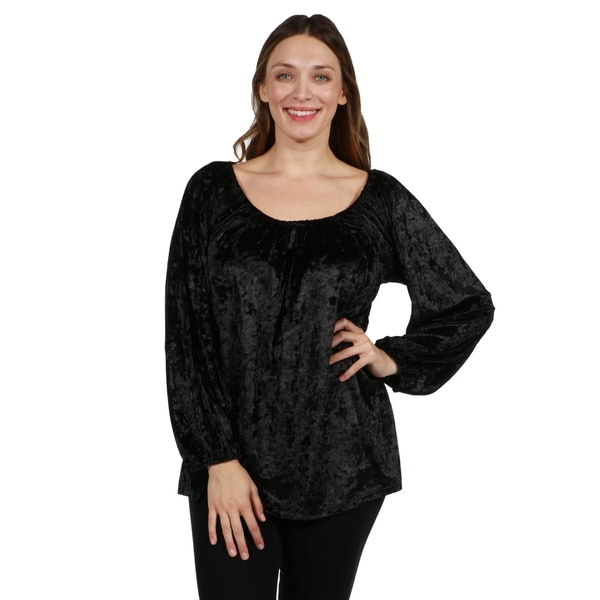 24/7 Comfort Apparel Velvet Plus Size Tunic Top. Opens flyout.