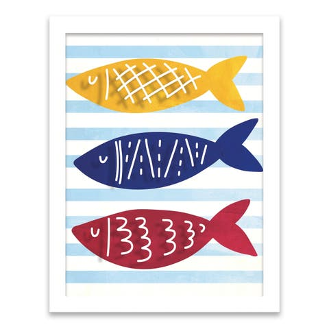 """""""Three Little Fishes"""" Shadowbox - 14W x 18H x 1.21D - Multi-color"""