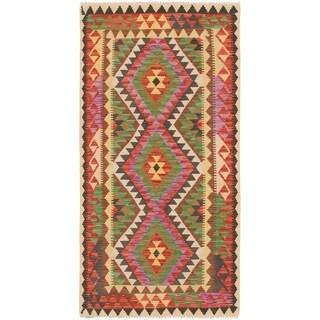 Hand Woven Kilim Maymana Wool Runner Rug - Multi - 3' 2 x 6' 4