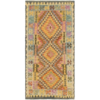 Hand Woven Kilim Maymana Wool Runner Rug - Multi - 3' x 6' 6