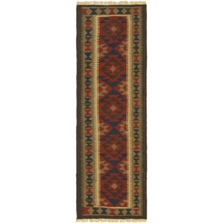 Hand Woven Kilim Maymana Wool Runner Rug - 2' x 6' 6