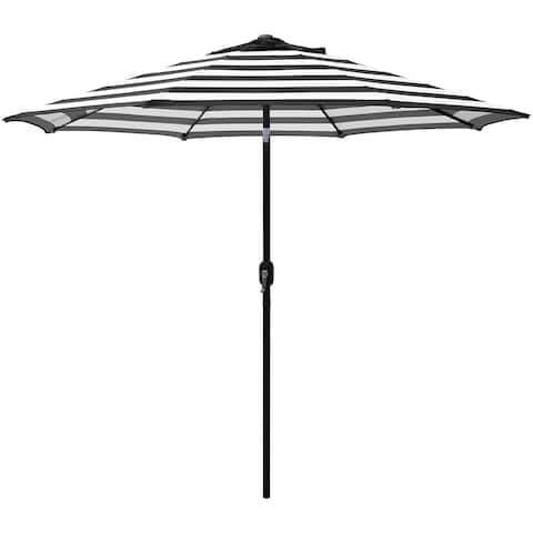 Maypex 9 Feet Stripe Crank and Tilt Market Umbrella - Black/White
