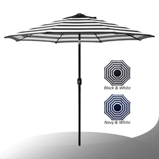 Exceptionnel Maypex 9 Feet Stripe Crank And Tilt Market Umbrella   Black/White