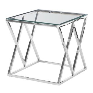 Best Master Furniture, Clear-glass Silver Square End Table