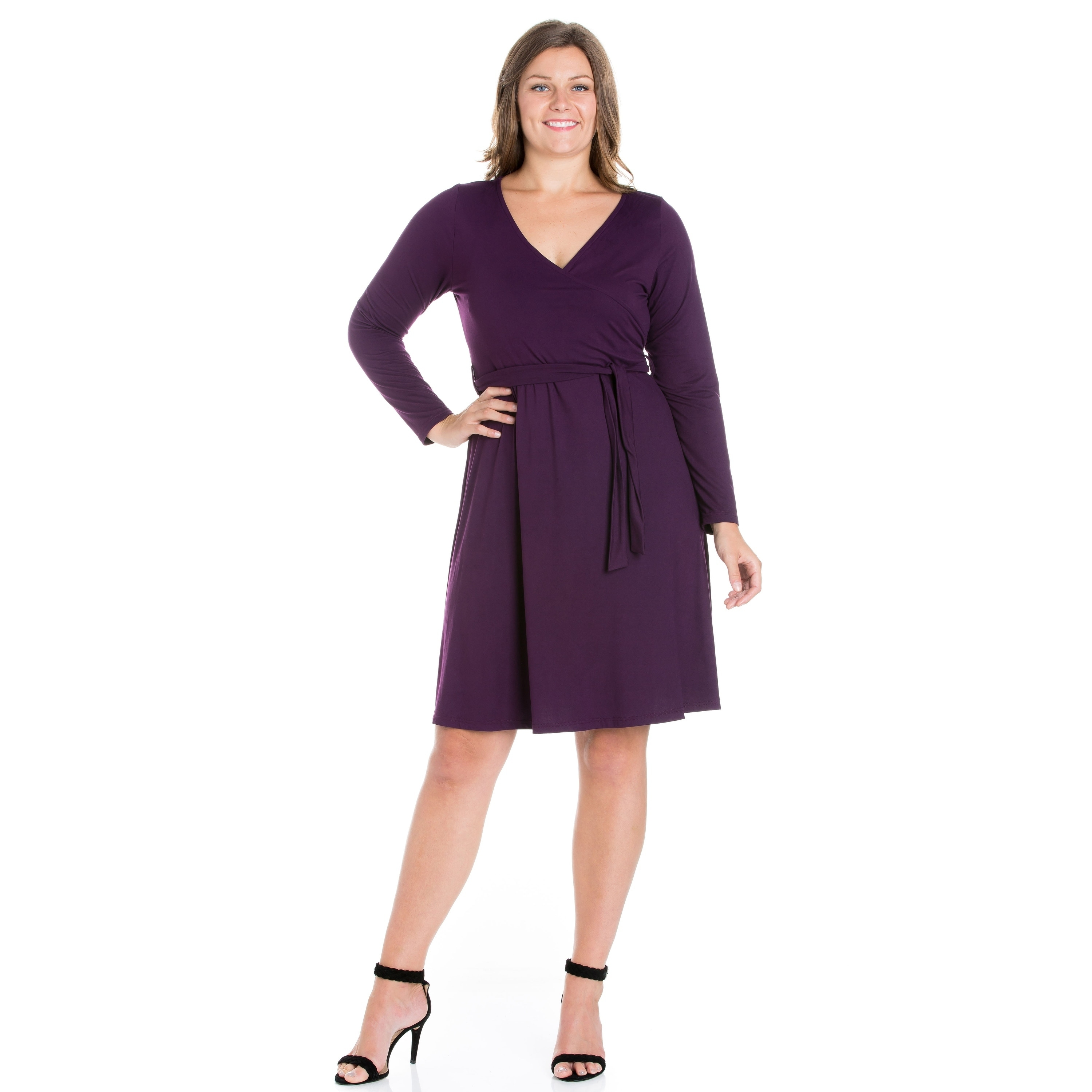 163b33894e Shop 24/7 Comfort Apparel Long Sleeve Plus Size Wrap Dress - Free Shipping  On Orders Over $45 - Overstock - 23610932