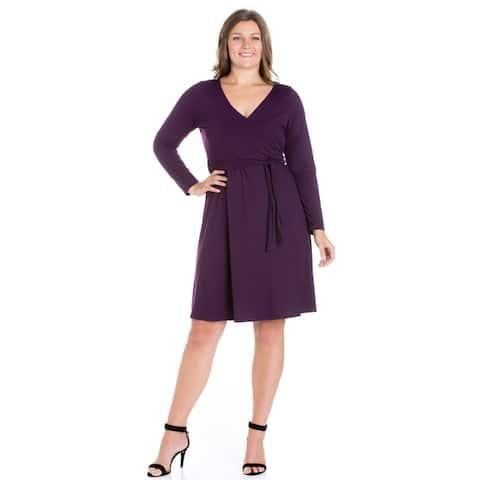 24/7 Comfort Apparel Long Sleeve Plus Size Wrap Dress