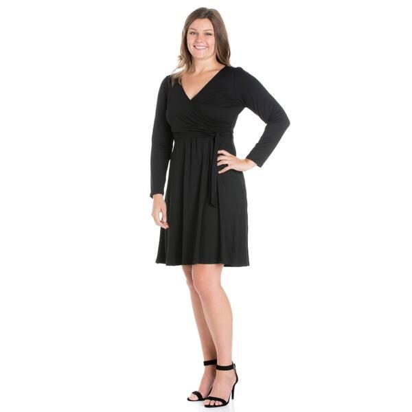 c9d2398a53 Shop 24/7 Comfort Apparel Long Sleeve Plus Size Wrap Dress - Free ...