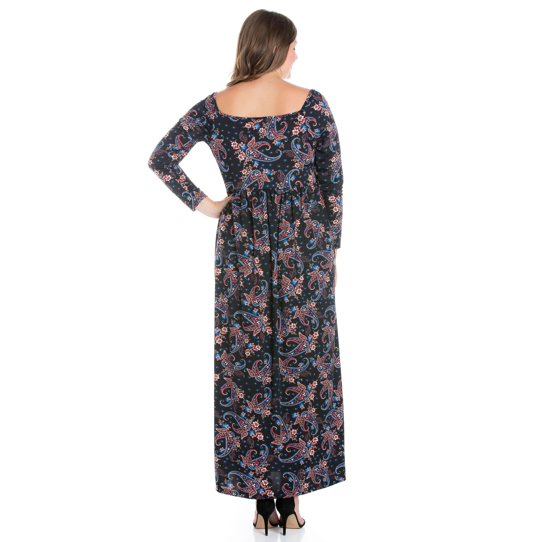 24/7 Comfort Apparel Long Sleeve Plus Size Maxi Dress