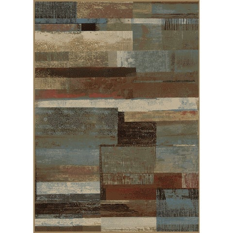 "Rustic Plank Blue Brown 8'x10' Area Rug 7'10""x9'10"" - multi - 7'10"" x 9'10"""