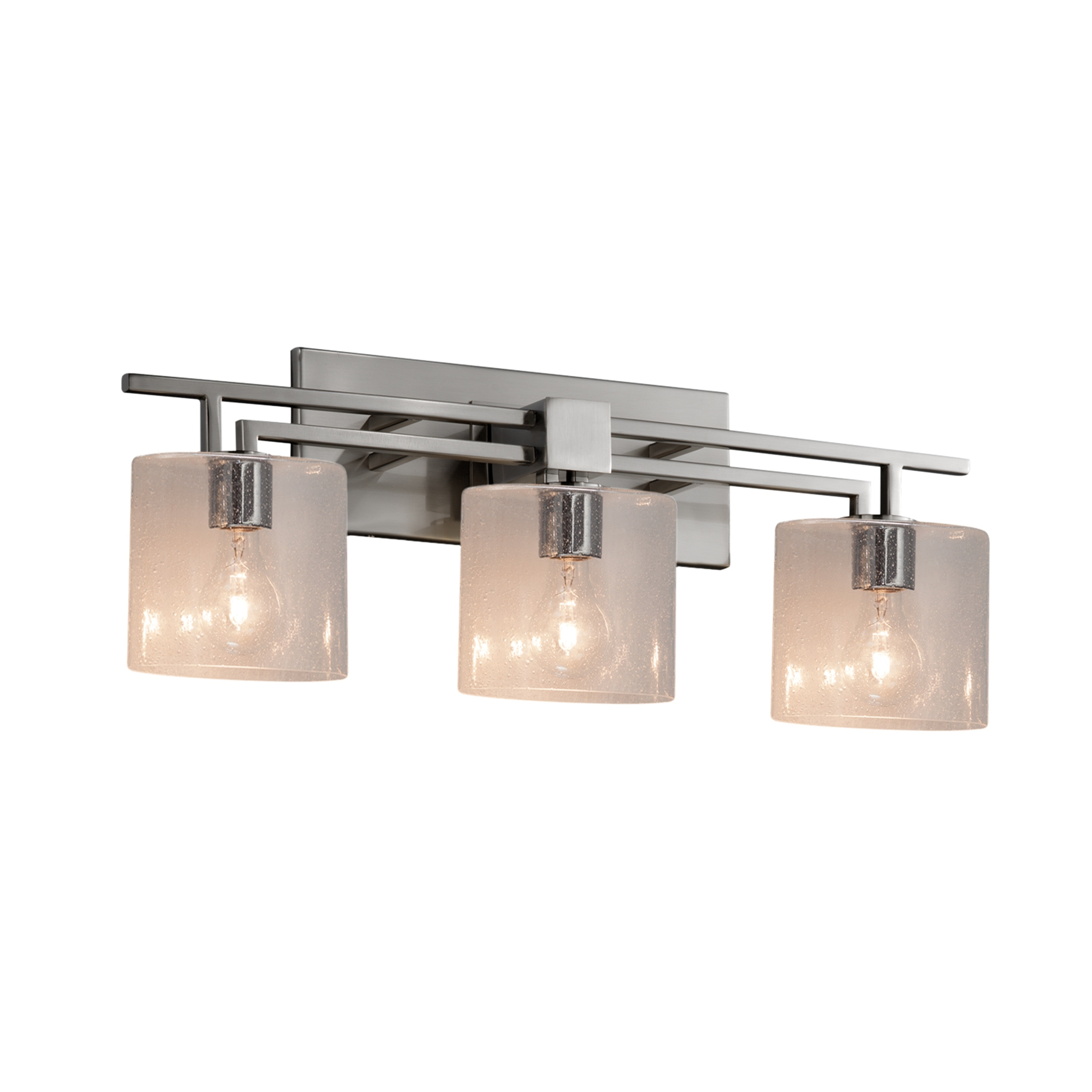 Justice Design Fusion Aero 3 Light Brushed Nickel Bath Bar Seeded Oval Shade Overstock 23611038