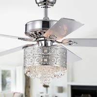 Thildis 52-inch 5-blade Chrome Lighted Ceiling Fans with Crystals and Daisy Chandelier (Remote Controlled)