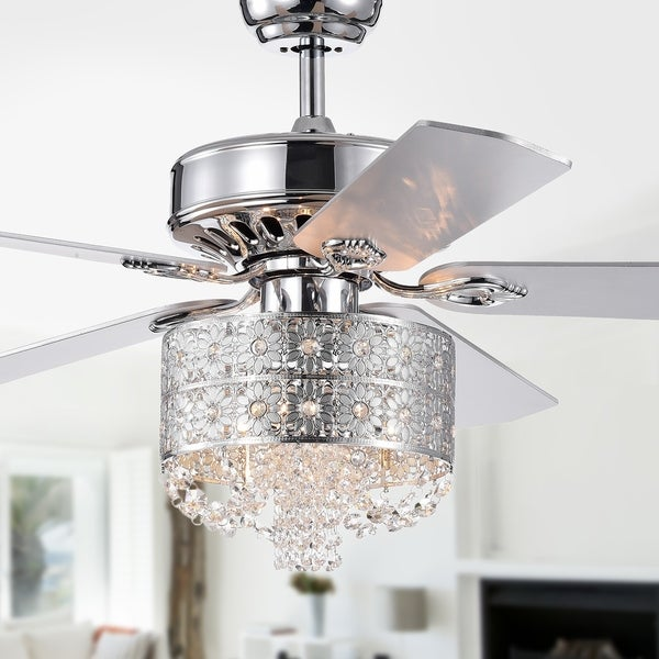 Cream Ceiling Fan Chandelier: Shop Thildis 52-inch 5-blade Chrome Lighted Ceiling Fans