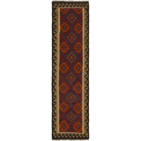 Hand Woven Kilim Maymana Wool Runner Rug - 2' 9 x 10' 2