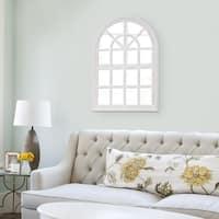 White Wash Arched Windowpane Wall Mirror - Antique White - N/A