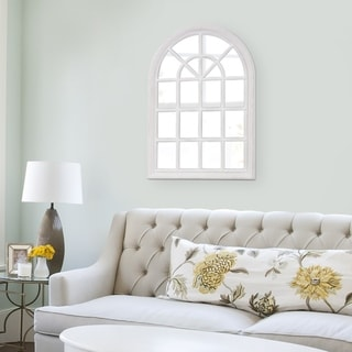 White Wash Arched Windowpane Wall Mirror - Antique White - N/A